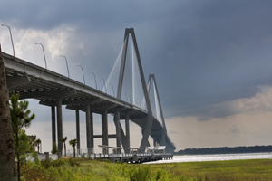 The Cooper River Bridge connecting Charleston, SC with nearby Mount Pleasant